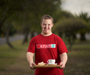 Young adult wearing red Spar t-shirt